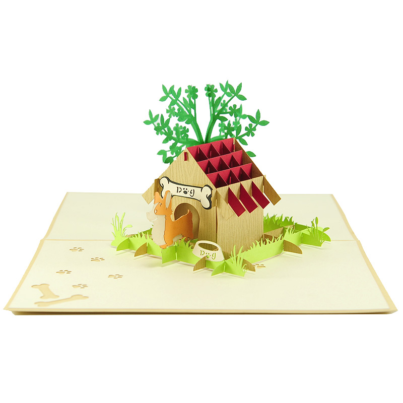 Dog house pop up card-Corgi pop up card- puppy pop up card- pop up card manufacturer- pop up card wholesale vietnam- pop up card US (1)