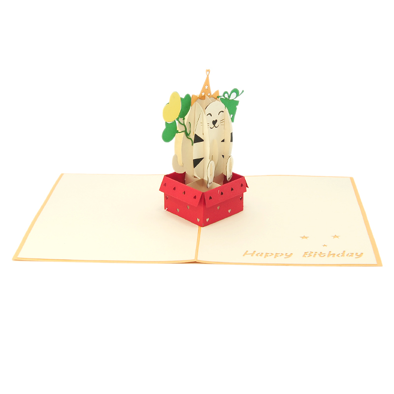 Kitten Pop Up Card, Pop Up Birthday Card, 3d Card High
