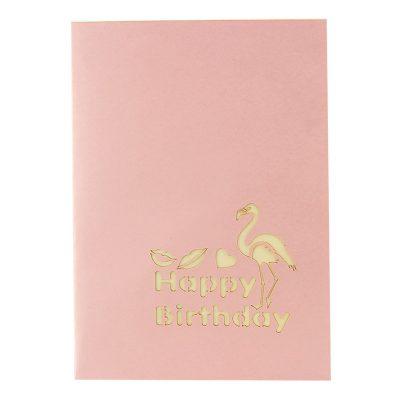 BG084-pop up flamingo greeting cards-pop up flamingo cards- birthday flamingo greeting cards- flamingo greeting cards- pop up cards wholesale- flamingo kirigami-Charmpop (1)