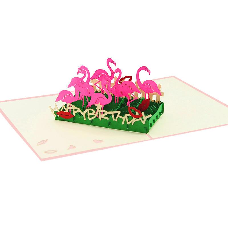 Pop Up Flamingo Greeting Cards Birthday Card Wholesale Custom New Designs