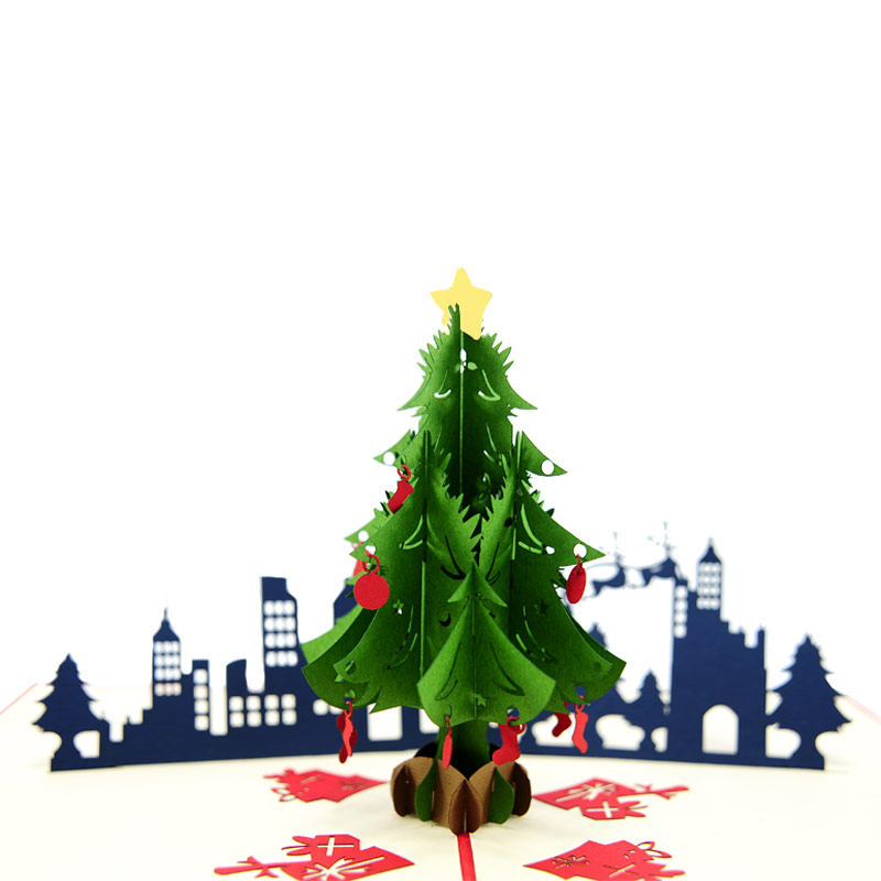 christmas city night pop up card christmas tree pop up card red christmas pop up card christmas 3d card supplier vietnam pop up card manufacturer charmpop