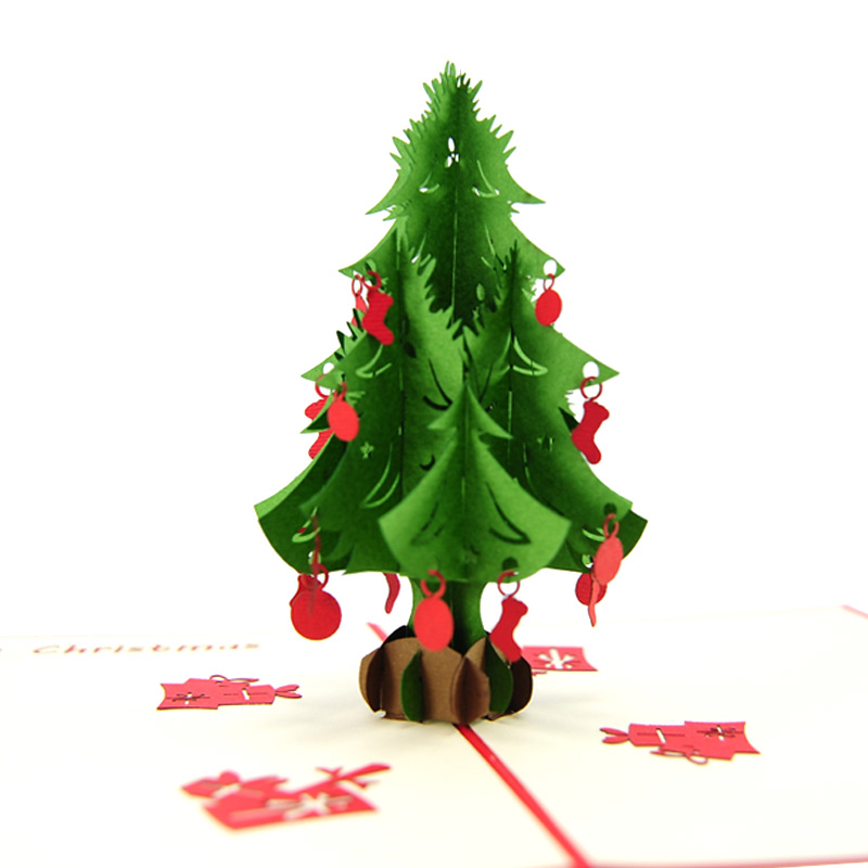 christmas tree pop up card red decorations - Pop Up Decorated Christmas Tree
