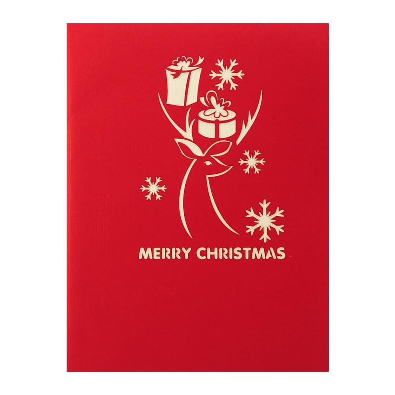 Holiday Reindeer Pop Up Card, Christmas 3d greeting cards manufacturer