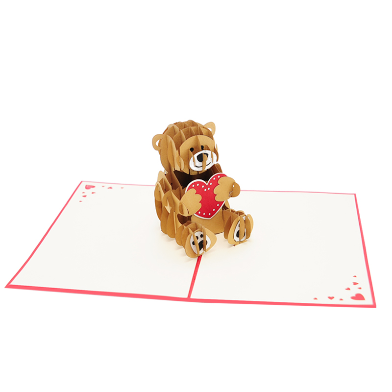 Valentines teddy bear pop up card pop up birthday card for Teddy bear pop up card template free