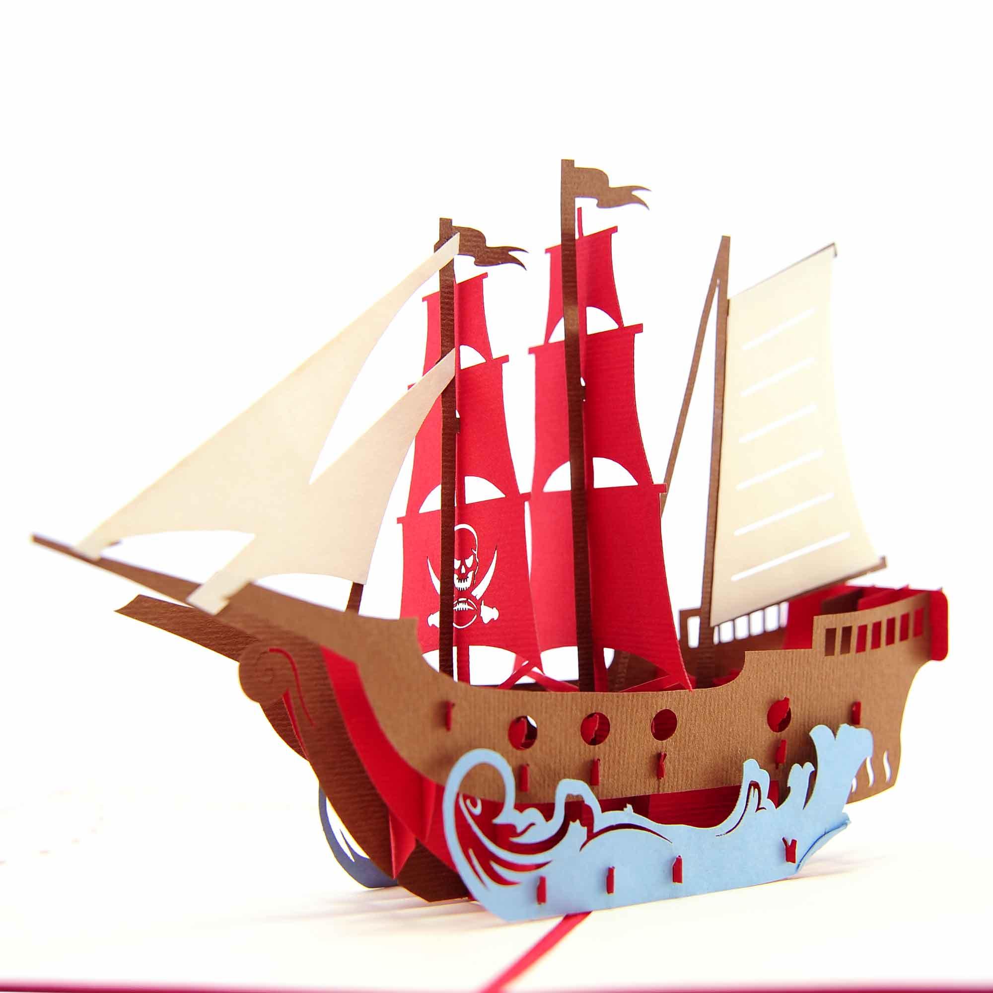 Pirate Ship pop up card, ship pop up card, birthday high quality ...