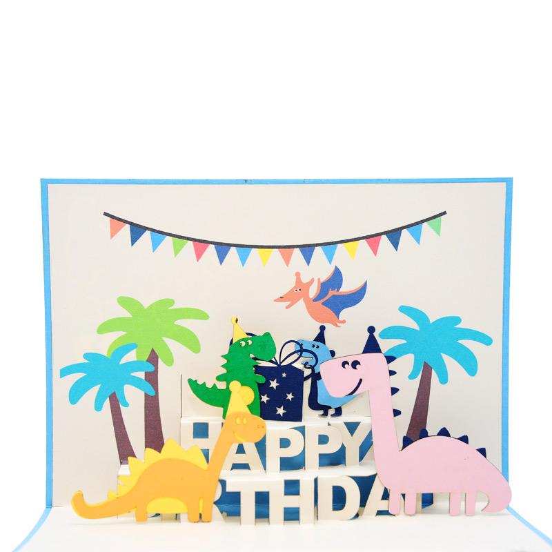 Birthday Dinosaur Pop Up Card Vietnam Custom 3d Cards Wholsale
