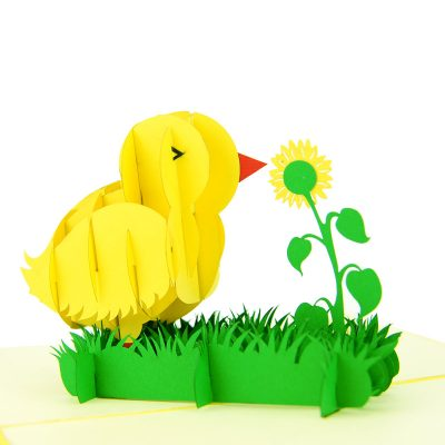 baby chicken pop up card baby chic greeting card handmade 3D wholesale (1)
