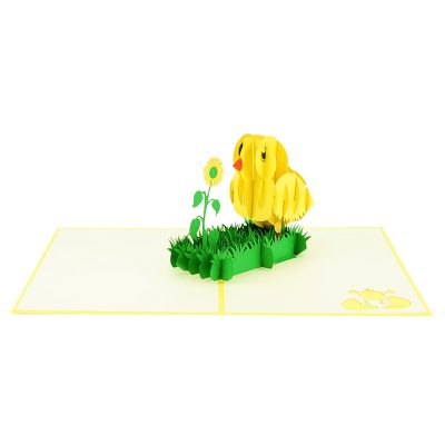 baby chicken pop up card baby chic greeting card handmade 3D wholesale (3)
