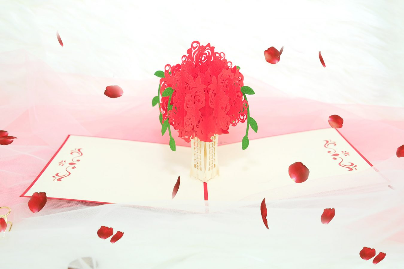 Meaning Of Roses Valentines Rose Card Handmade Pop Up Valentines