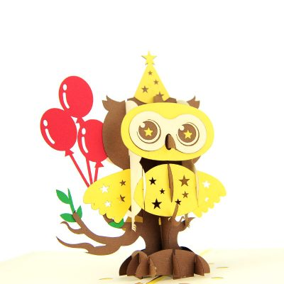 Birthday owl pop up cards wholesale birthday handmade greeting card manufactuer (19)