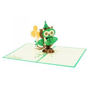 Birthday owl pop up cards wholesale birthday handmade greeting card manufactuer (22)