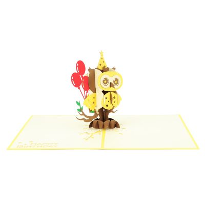 Birthday owl pop up cards wholesale birthday handmade greeting card manufactuer (25)