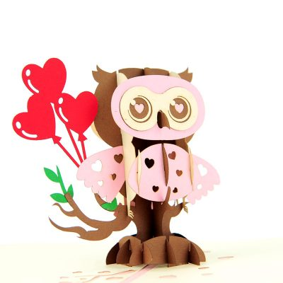 Owl balloon pop up cards wholesale birthday handmade greeting card manufactuer (17)