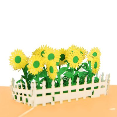 sun flower pop up card greeting card sunflower birthday handmade wholesale (1)