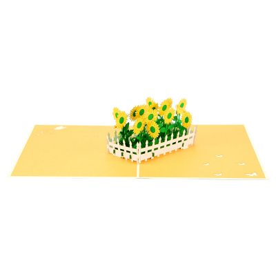 sun flower pop up card greeting card sunflower birthday handmade wholesale (7)