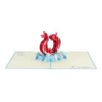 Koi fish greeting card-pop up card koi fish-pop up card handmade supplier (5)