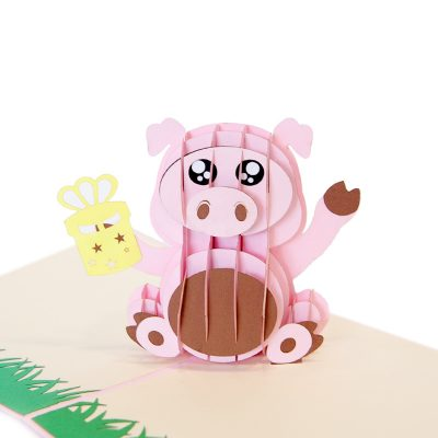 Birthday pig pop up cards supplier- pop up cads wholesale. (1)