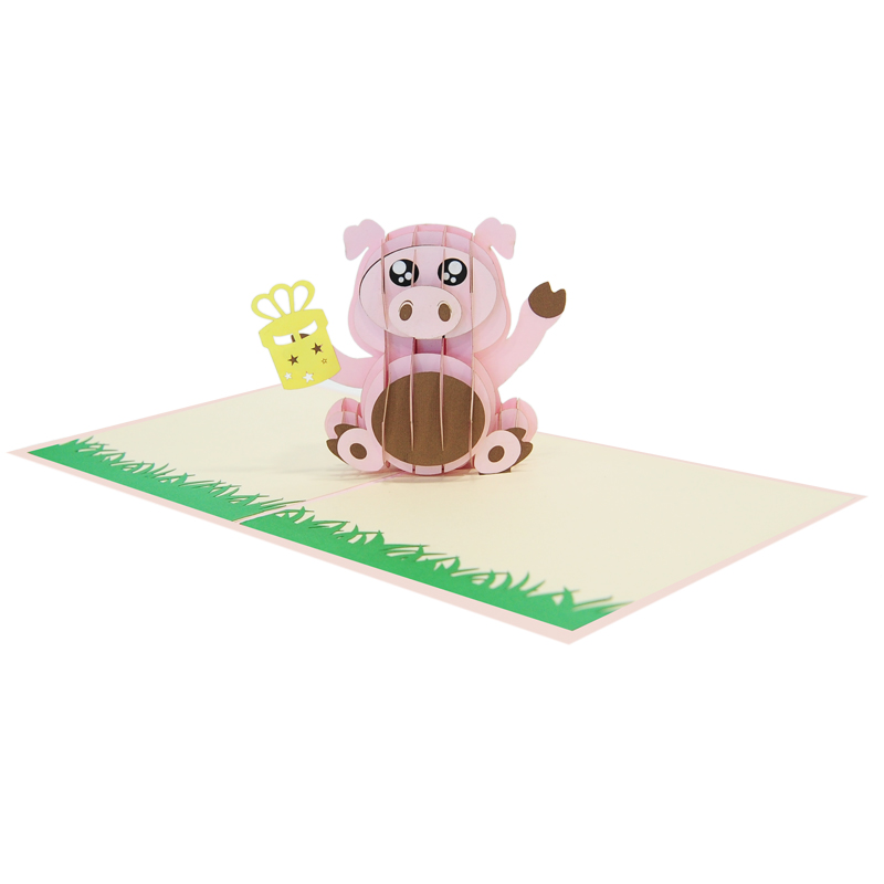Birthday pig pop up cards supplier- pop up cads wholesale. (4)