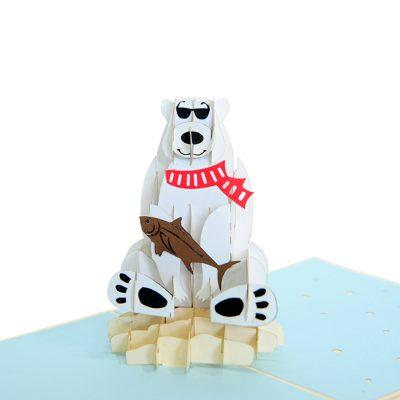 Polar bear pop up card-pop up cards supplier- pop up cads wholesale (1)