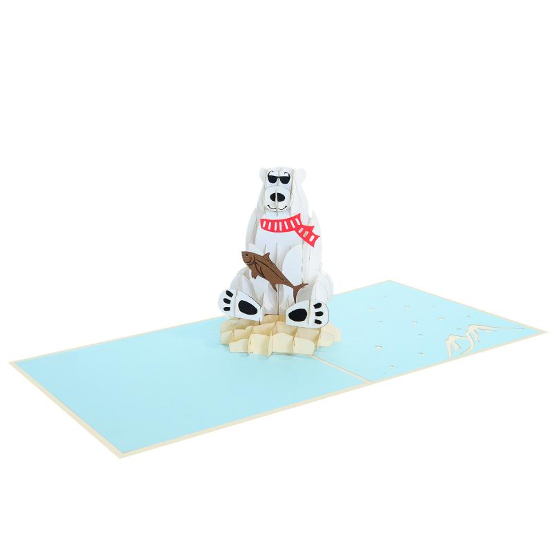 Polar bear pop up card-pop up cards supplier- pop up cads wholesale (4)