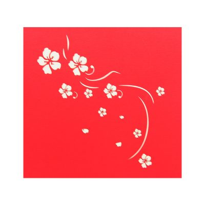 Yellow apricot flower pop up card company pop up card manufacture (1)