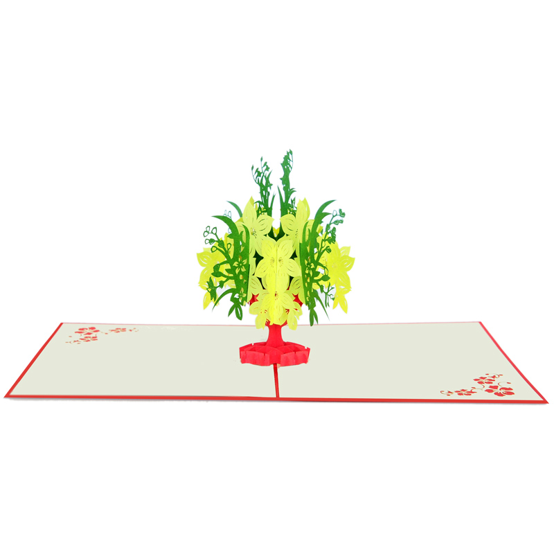 Yellow apricot flower pop up card company pop up card manufacture (2)
