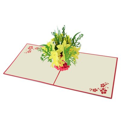 Yellow apricot flower pop up card company pop up card manufacture (4)