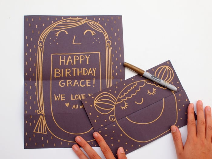 The Card Looks Like Just A Simple Smiling Face But Once Its Unfolded Fun Hidden Message Is Revealed Inside This Drawing Birthday Invitation DIY
