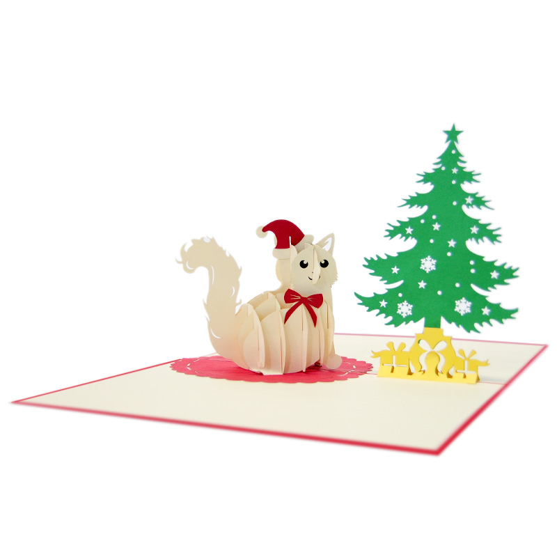 Christmas Cat Pop Up Card- Christmas Pop Up Cards