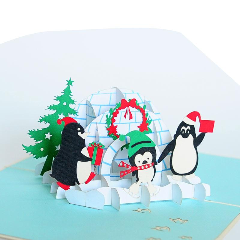 Christmas penguin pop up card, Christmas 3d greeting cards manufacturer
