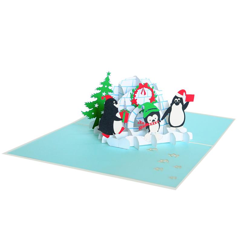Christmas penguine pop up card-pop up cards christmas manufactuer (4)