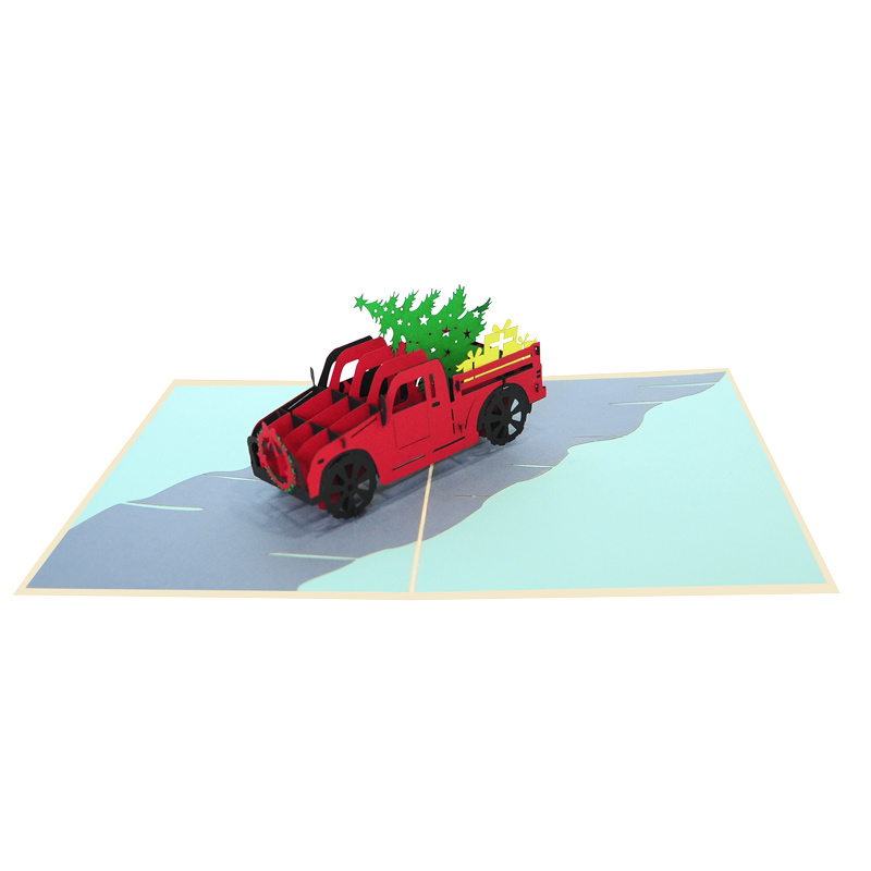 Christmas truck pop up card-Christmas pop up cards 2018 supplier-pop up cards manufacturer (1)