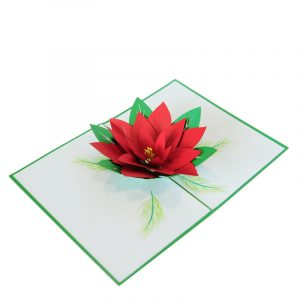 Poinsettia Pop Up Card-2018 Christmas pop up cards wholesaler-pop up cards manufacturer (3)