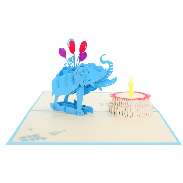 Birthday-elephant-pop-up-card-Animal-3D-handmade-card-Birthday-kirigami-card-wholesale-CharmPop Cards (3)