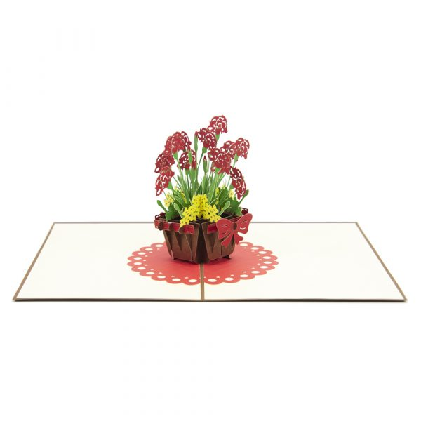 Pansy pot pop up cards-3d cards whosales-overview