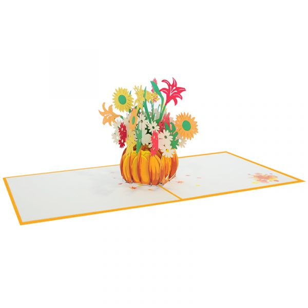 Pumpkin flower pot-pop-up card-Thanksgiving-3D-greeting-cards-wholesale-CharmPop Cards (1)