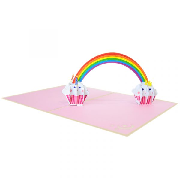 Rainbow-cupcake birthday-pop-up-card-Birthday-3D-cards-manufacturer-CharmPop Cards (4)