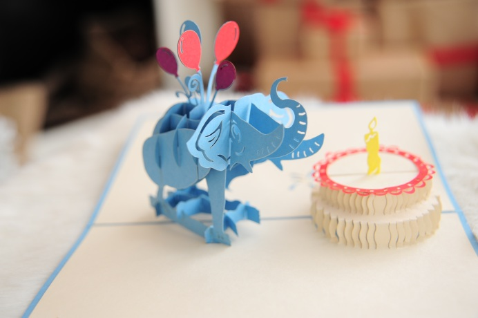 Birthday Elephant Pop Up Card Animal 3D Handmade Kirigami Wholesale New Design Cards CharmPop
