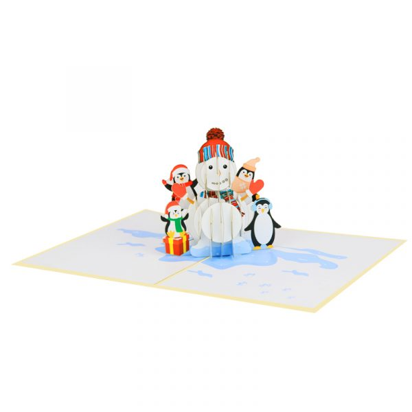 snowman and penguins-pop-up-cards-3d-cards-wholesales-front