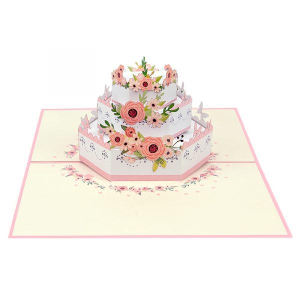 wedding-flower-cake-pop-up-cards-3d-cards-manufacturer-front
