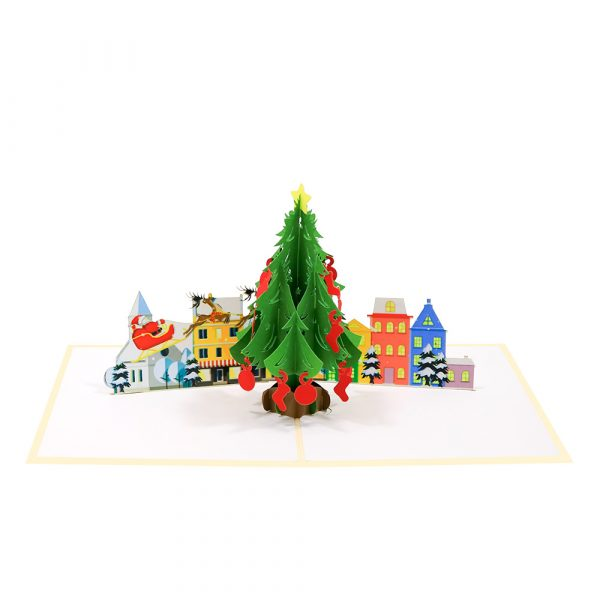 Big Christmas tree-pop-up-cards-3d-cards-supplier-front