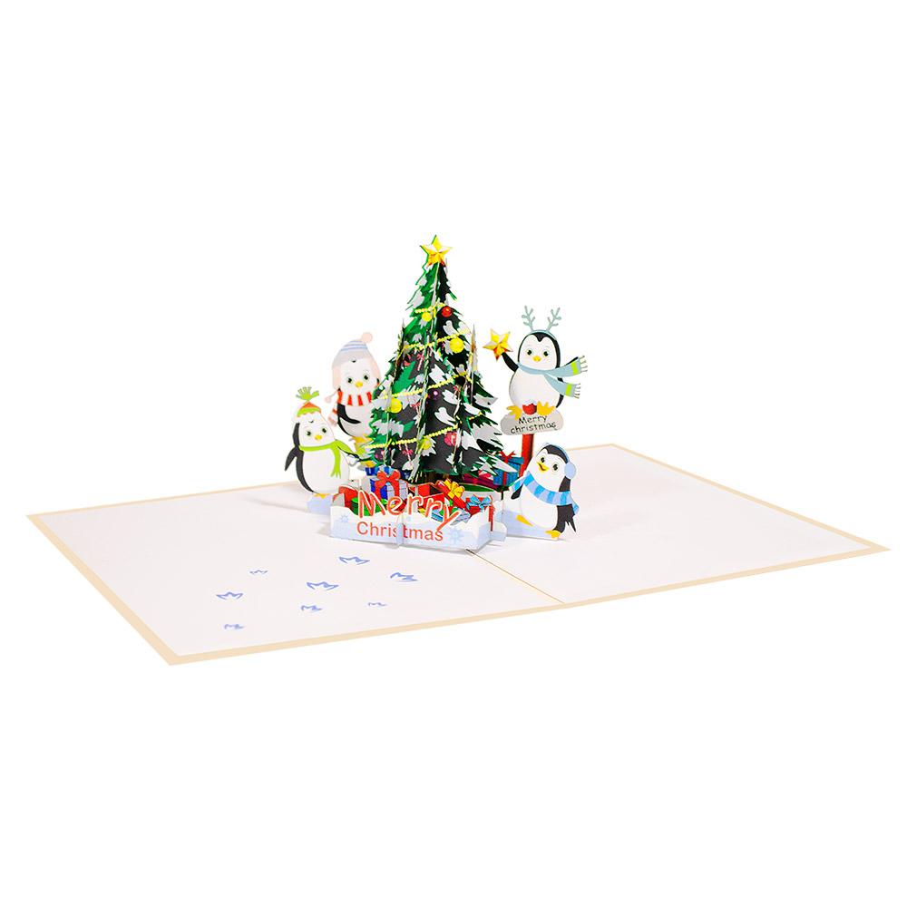 Pop Up Christmas Tree Video: Christmas Tree And Penguins Pop Up Card, Christmas Pop Up