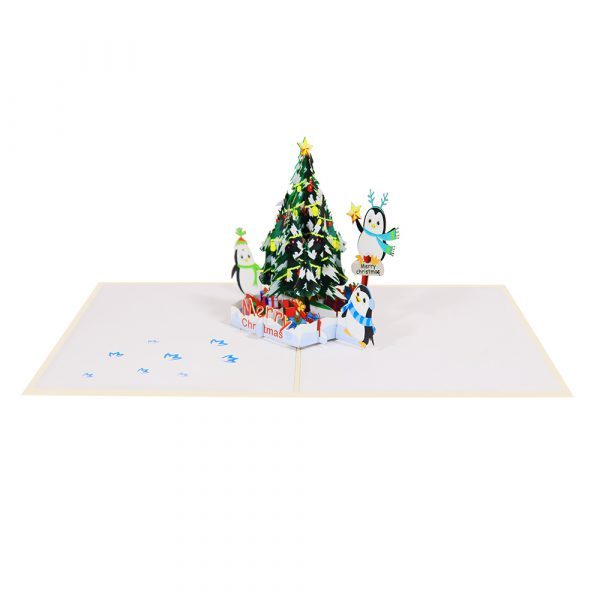 Christmas-tree-and-Penguins-Pop-Up-Card-3d-cards-wholesales-side