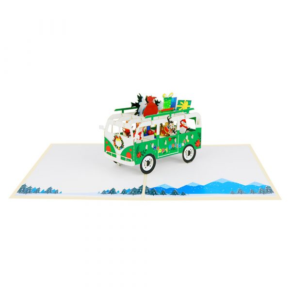 funny christmas bus-pop-up-cards-3d-cards-wholesales-front