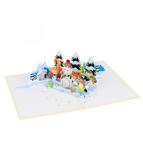 snowman and kids-pop-up-cards-3d-cards-wholesales-side