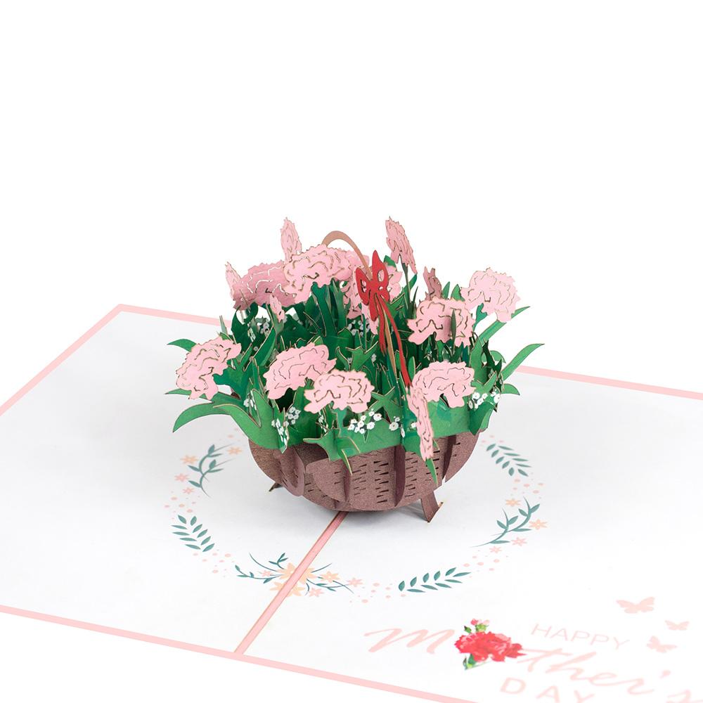 flower basket pop up card  flowers pop up card wholesale