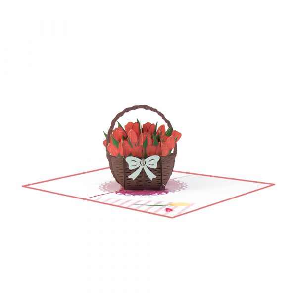 red tulip pop up card-manufacturer 3d cards supplier-overview