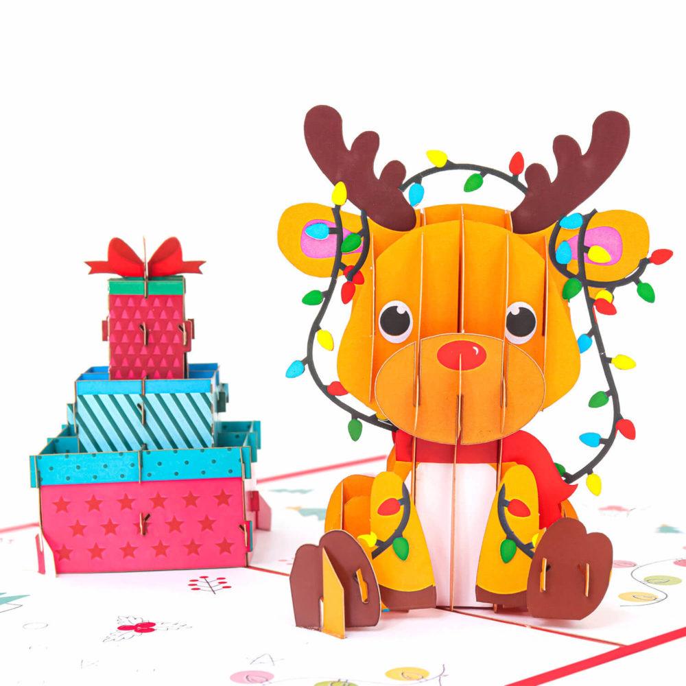 Christmas Reindeer Gift Pop Up Card