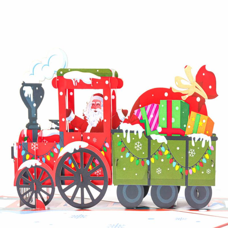 Santa Train Pop Up Card