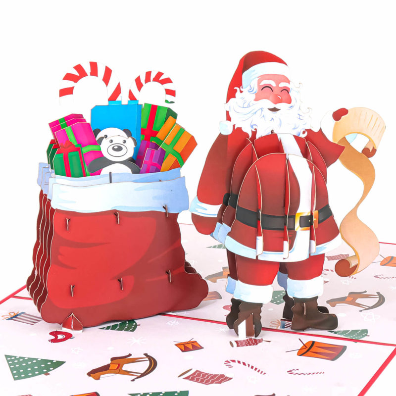Santa With Christmas Toy Bag Pop Up Card